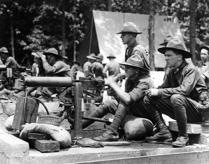 1927 - Machine gun spread of the 58 Brigade headquarters at Camp Ritchie. Charles Skyrock and Michael Huntly. (A. Aubrey Bodine/Baltimore Sun)