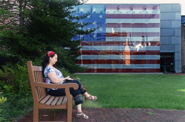 Isbel Gavilano of Washington D.C., visits Baltimore's Star-Spangled Banner Flag House Museum in Jonestown Neighborhood. (Kenneth K. Lam/Baltimore Sun/Oct. 6, 2015)