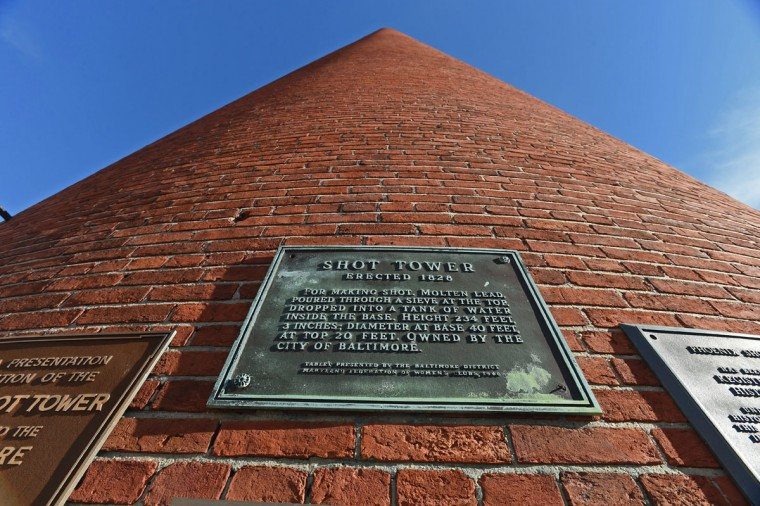 The Shot Tower, erected in 1828, is located within the Jonestown neighborhood. (Baltimore Sun photo by Kenneth K. Lam, Oct. 6, 2015)