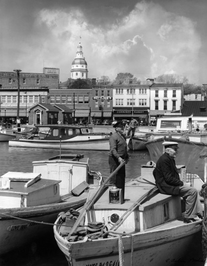 1946 - The City Dock in Annapolis. (A. Aubrey Bodine/Baltimore Sun)