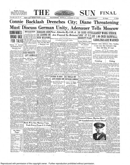 August 15, 1955 - Hurricane Connie backlash drenches city; Hurricane Diane threatening