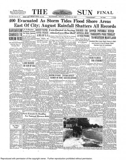 August 19, 1955 - 400 evacuated as storm tides from Hurricane Diane flood shore areas east of city