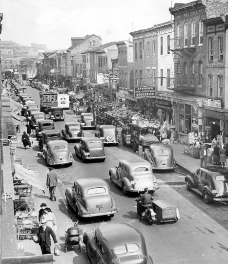 "A view of Lombard Market on Lombard Street looking east to Central Avenue. ""Corned Beef Row"" and Attman's Deli are also seen in this 1939 Baltimore Sun file photo."