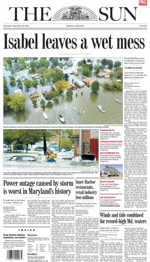 September 20, 2003 - Record flooding occurs at Baltimore waterfront, other areas across the state