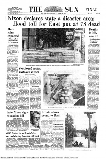 June 24, 1972 - Nixon declares state of disaster area, flood toll for East put at 78 dead after Hurricane Agnes