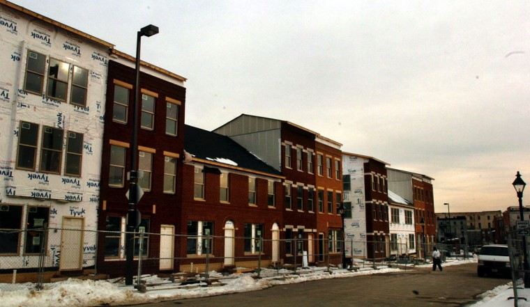 The first residents of the Flag House Courts development near Pratt Street and Central Avenue are scheduled to move in within the next 60 days. (Baltimore Sun Staff /ELIZABETH MALBY / Feb. 2, 2004)