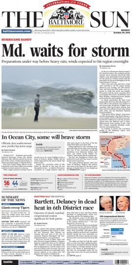 October 29, 2012 - Maryland waits for Hurricane Sandy
