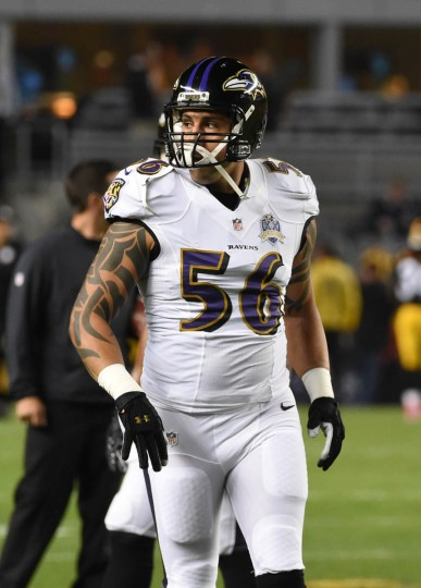Baltimore Ravens linebacker Jason Babin (56) prior to the Ravens game against the Steelers at Heinz Field in Pittsburgh. He is activated for the first time this season. (Kenneth K. Lam/Baltimore Sun)