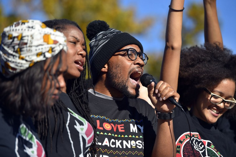 Jonathan Butler speaks for the Concerned Students 1950 at a press conference at MU on Monday, Nov. 9, 2015. (Allison Long/Kansas City Star/TNS)