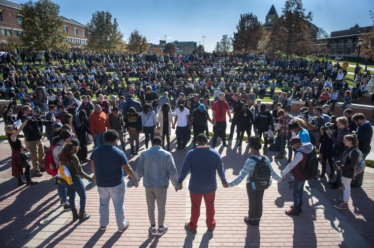Protesters, students and media fill Traditions Plaza during a press conference following the Concerned Students 1950 protest on Monday, Nov. 9 2015, in Columbia, Mo. (Michael Cali/San Diego Union-Tribune/TNS)
