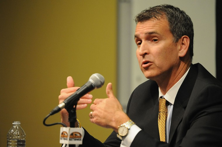 University of Missouri-Columbia Athletic Director Mack Rhoades speaks to the media during a news conference on the campus of University of Missouri - Columbia on November 9, 2015 in Columbia, Missouri. University of Missouri System President Tim Wolfe resigned today amid protests over racial tensions at the university. (Michael B. Thomas/Getty Images)