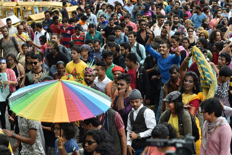 Indian Lesbian, Gay, Bisexual and Transgender activists and their supporters take part in a Pride March in Bangalore on November 22, 2015. (Manjunath Kiran/AFP/Getty Images)