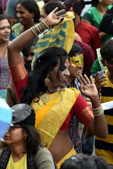 An Indian participant dances as Lesbian, Gay, Bisexual and Transgender activists and their supporters take part in a Pride March in Bangalore on November 22, 2015. (Manjunath Kiran/AFP/Getty Images)
