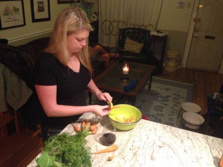 Prepping all these veggies is a team effort.