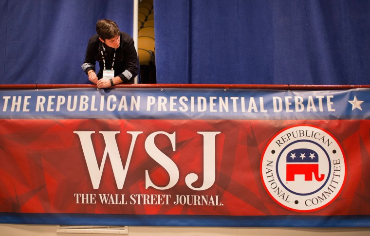 Kirt Gallatin helps to prepare for the Republican presidential debate sponsored by Fox Business News and the Wall Street Journal on November 9, 2015 in Milwaukee, Wisconsin. The debate, which is scheduled for tomorrow evening at the Milwaukee Theater, will be the third for the Republicans seeking their party's nomination for president. (Photo by Scott Olson/Getty Images)