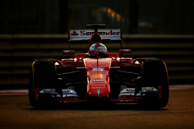 Sebastian Vettel of Germany and Ferrari drives during practice for the Abu Dhabi Formula One Grand Prix at Yas Marina Circuit on November 27, 2015 in Abu Dhabi, United Arab Emirates. (Photo by Clive Mason/Getty Images)