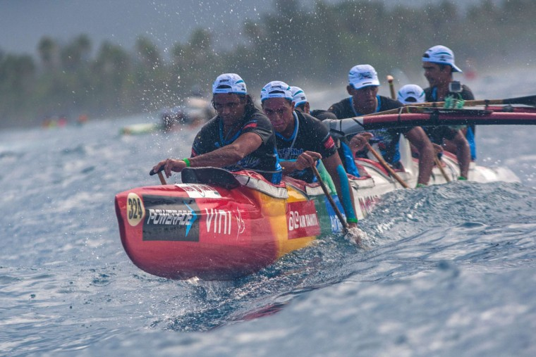 Participants leave the starting line in Huahine on the morning of November 4, 2015 for the first leg of the Hawaiki Nui Va'a 2015 outrigger canoe race. The Hawaiki Nui Va'a outrigger canoe race is an annual event with more than 100 team of intense racing between Huahine, Raiatea, Taha'a and Bora Bora, honoring an ancient sport with great cultural values. The 24th edition of the race hosts teams from Taihiti, France and New Zealand, with the number of teams and countries increasing each year. Originally made in wood, almost all of the canoes are today fabricated with high tech polyester material and carbon fiber. (GREGORY BOISSY/AFP/Getty Images)