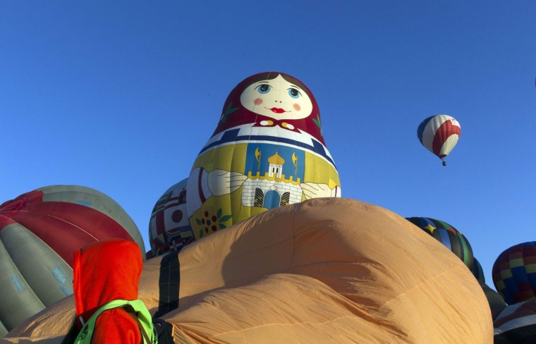 Air balloons are inflated during the International Balloon Festival at the Metropolitan Park in Leon, Guanajuato state, Mexico on November 13, 2015. (HECTOR GUERRERO/AFP/Getty Images)