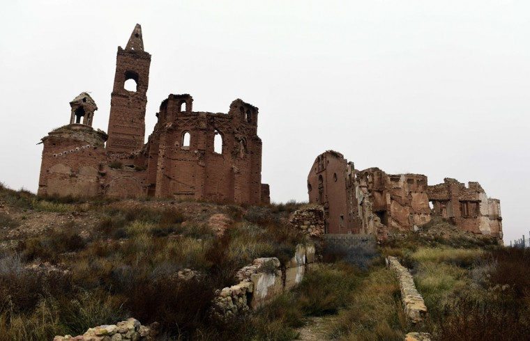 The ruins of San Martin de Tours church in the old village of Belchite in Aragon stand on November 12, 2015. (GERARD JULIEN/AFP/Getty Images)