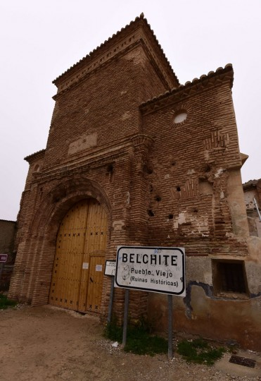 "The entrance of the village of Belchite stands in Aragon on November 12, 2015. Belchite was devastated during ""the Battle of Belchite"" in the Spanish civil war in a series of military operations confronting loyalist Spanish republicans and General Franco's nationalists forces between August 24 and September 7, 1937 in and around the small town of Belchite. Following the battle Franco ordered that the ruins be left untouched as a ""living"" monument of war. (GERARD JULIEN/AFP/Getty Images)"
