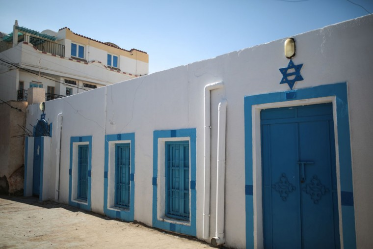 A Star of David is seen outside the Synagogue of the Kohanim of Djirt, at Hara Kbira, the main Jewish neighborhood on the Island of Djerba, southern Tunisia. Tunisiaís Jewish population has dwindled from 100,000 in 1956, when the country won independence from France, to less than 1,500, mainly as a result of emigration to France and Israel. But unlike in much of the rest of the Arab world, Tunisian Jews have seen little direct persecution and have only rarely been targeted by extremists. (AP Photo/Mosa'ab Elshamy)