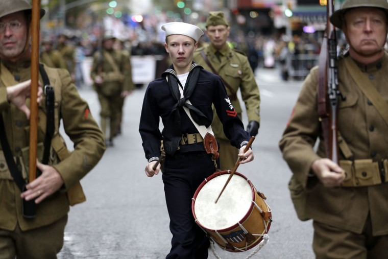 World War I reenactors march in the annual Veteran's Day parade in New York, Wednesday, Nov. 11, 2015. (AP Photo/Seth Wenig)