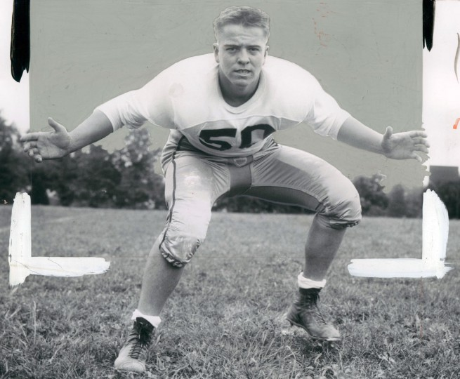 Edmondson High School Football center linebacker, Ed Lechert. (Joseph DiPaola/Baltimore Sun, 1960)