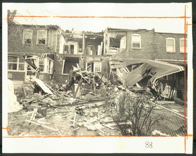 A Cherry Hill home was destroyed by an explosion following a leaking gas main on Dec. 3, 1976. (Baltimore Sun photo by Clarence B. Garrett)
