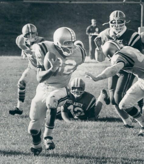 Catonsville versus Dulaney. Paul Brown carries the ball for yardage. (Richard Childress/Baltimore Sun, 1971)