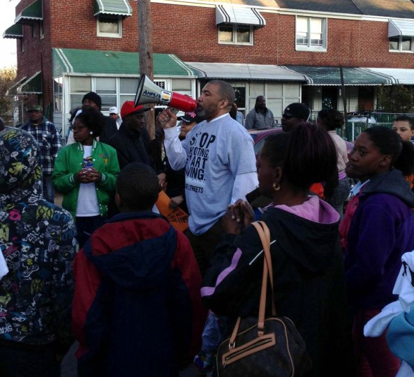 Rev. Norman Eaton speaks during a Safe Streets rally in Cherry Hill. (Photo by Justin George/Baltimore Sun)