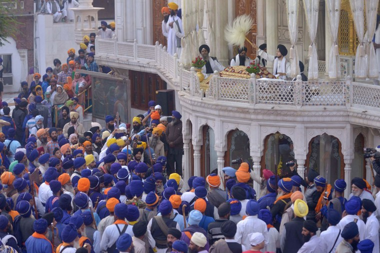 Indian Sikh Nihang - a traditional Sikh religious warrior - gather at Sri Akal Takhat Sahib at the Golden temple in Amritsar on November 11,2015 on the occasion of Bandi Chhor Divas, or Diwali. (NARINDER NANU/AFP/Getty Images)