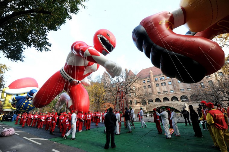 The Red Mighty Morphin Power Ranger Balloon Takes Flight At The 89th Annual Macy's Thanksgiving Day Parade on November 26, 2015 in New York City. (Photo by Brad Barket/Getty Images for Saban Brands)