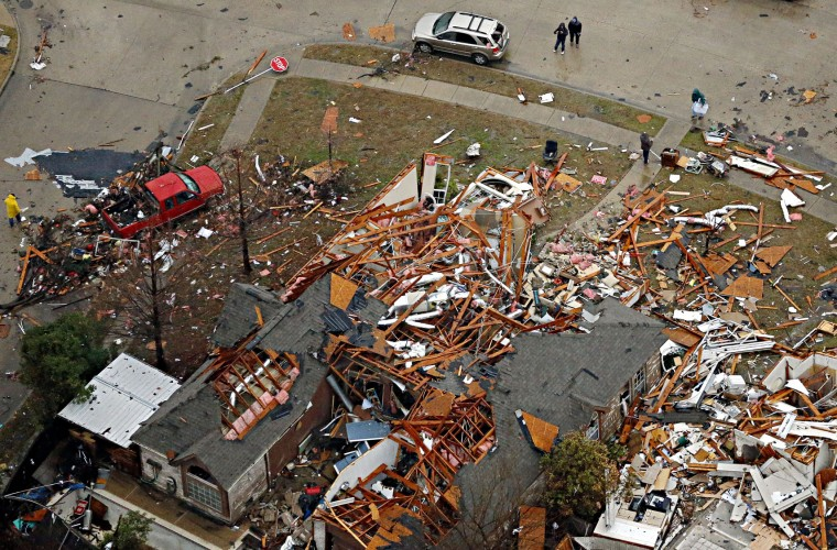 An aerial image taken on Sunday, Dec. 27, 2015 shows homes destroyed by a tornado in Rowlett, Texas. Violent storms ripped through the North Texas area late Saturday, spawning tornados that killed 11 people. (G.J. McCarthy/Dallas Morning News/TNS)