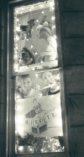 Jim Forgione and Patrick Lears in their window display in Charles Village. (Barbara Haddock/Baltimore Sun, 1987)