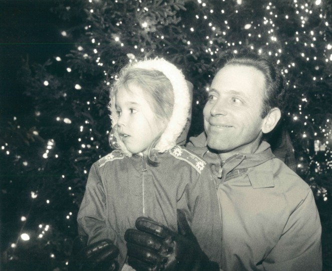 December 1, 1988 - Joe Moranto and his daughter Gina, 4, wait for the arrival of the St. Nicholas on Fountain Plaza in Towson. Behind them is the Christmas tree which was lit during the festivities. Moranto is from Carney. (Kim Hairston/Baltimore Sun)