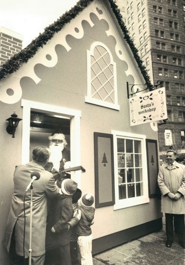 Mayor Schaeffer is greeted by Santa Claus at the opening of Santa's Workshop in Center Plaza. (William LaForce/Baltimore Sun, 1972