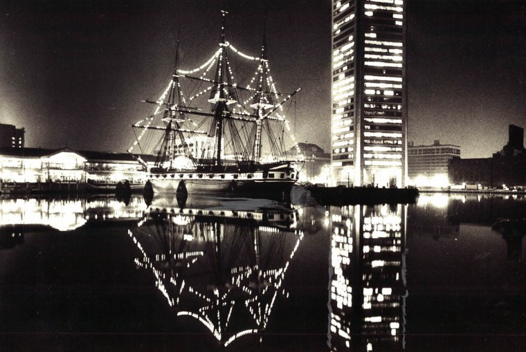 The Constellation is seen adorned with holiday lights on Christmas Eve in 1980. (Richard Childress/Baltimore Sun)