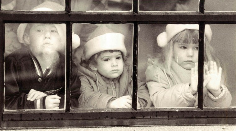 Children wait for Santa's arrival at St. John's Nursery in Linthicum in 1988. (Perry Thorsvik/Baltimore Sun)