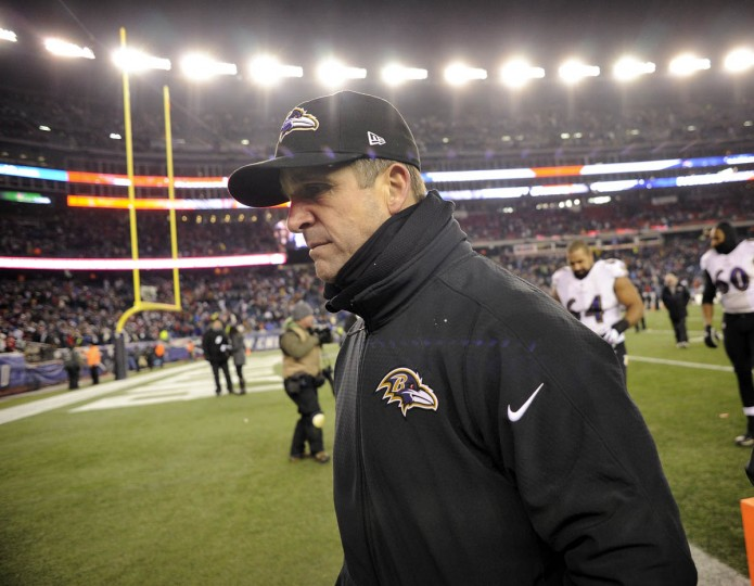 Ravens head coach John Harbaugh leaves the field after losing to the Patriots, 35-31. The Baltimore Ravens play the New England Patriots in the AFC Divisional Round of the NFL Playoffs. (Christopher T. Assaf, Baltimore Sun)