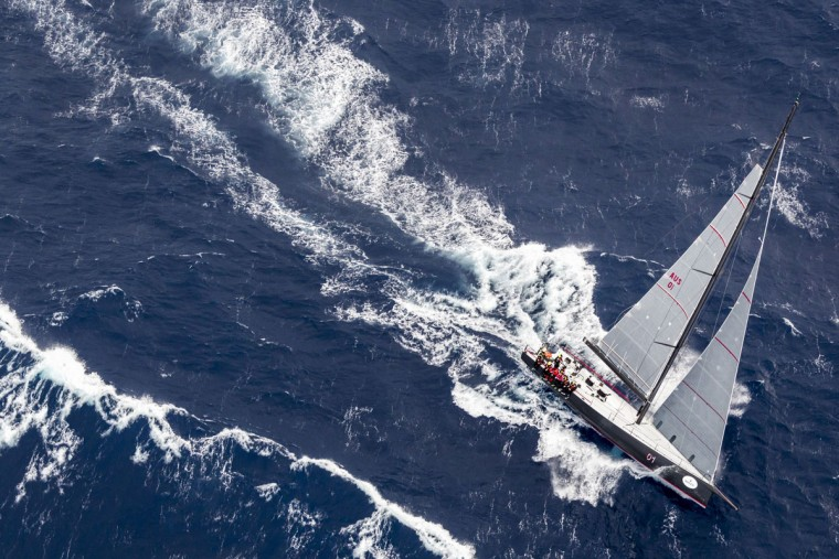 This handout photo from taken and released on December 27, 2015 by Rolex shows the Jones 70 yacht Ichi Ban competing in the Sydney to Hobart yacht race. Strong winds knocked out more Sydney to Hobart competitors on December 27, joining eight-time line honours winners Wild Oats XI, as sailors battled wild weather off Australia's east coast, officials said. (STEFANO GATTINI/AFP/Getty Images)