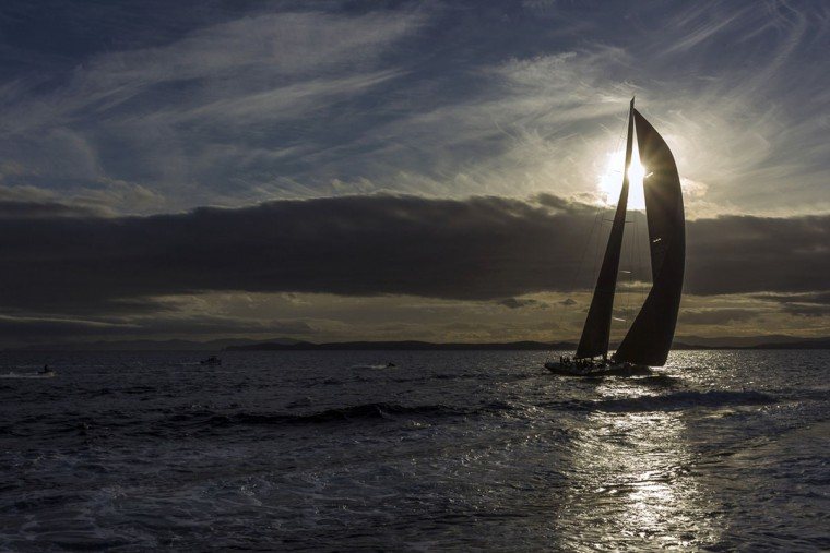 In this handout photo released by Rolex, US supermaxi yacht Comanche heads to the finish in the Sydney to Hobart yacht race on December 28, 2015. (STEFANO GATTINI/AFP/Getty Images)