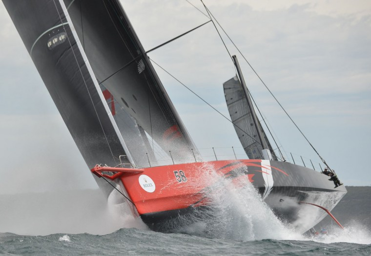 Photo taken on December 26, 2015 shows Supermaxi yacht Comanche at the start of the Sydney to Hobart yacht race in Sydney. (PETER PARKS/AFP/Getty Images)