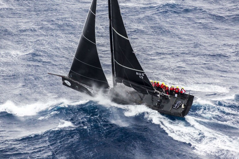 This handout photo from taken and released on December 27, 2015 by Rolex shows the JV62 yacht Chinese Whisper competing in the Sydney to Hobart yacht race. Strong winds knocked out more Sydney to Hobart competitors on December 27, joining eight-time line honours winners Wild Oats XI, as sailors battled wild weather off Australia's east coast, officials said. (STEFANO GATTINI/AFP/Getty Images)