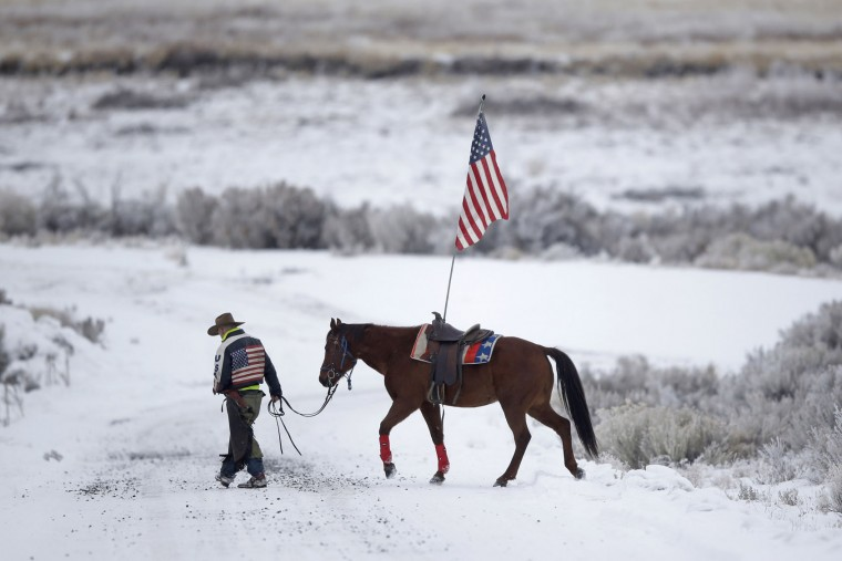 Cowboy Dwane Ehmer, of Irrigon, Ore., a supporter of the group occupying the Malheur National Wildlife Refuge, walks his horse Thursday, Jan. 7, 2016, near Burns, Ore. The group has said repeatedly that local people should control federal lands, but critics say the lands are already managed to help everyone from ranchers to recreationalists. (AP Photo/Rick Bowmer)