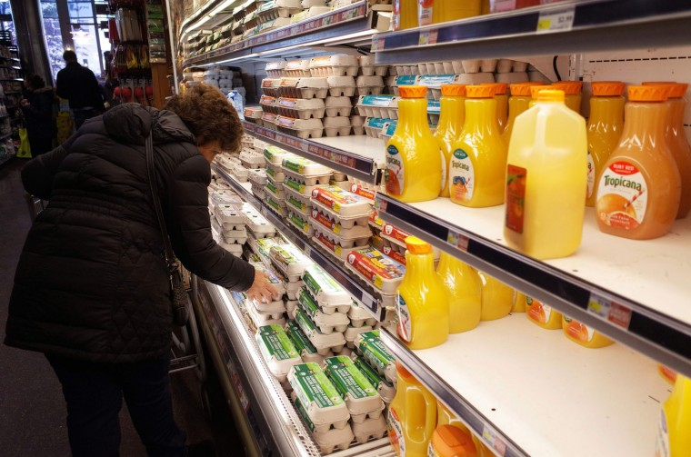 A shopper is seen in a supermarket on January 21, 2016 ahead of an expected blizard in Washington, DC. A blizzard warning has been issued for the Washington region with a forecast of 2 feet, 61 cm, of snow. (Mandel Ngan/AFP/Getty Images)