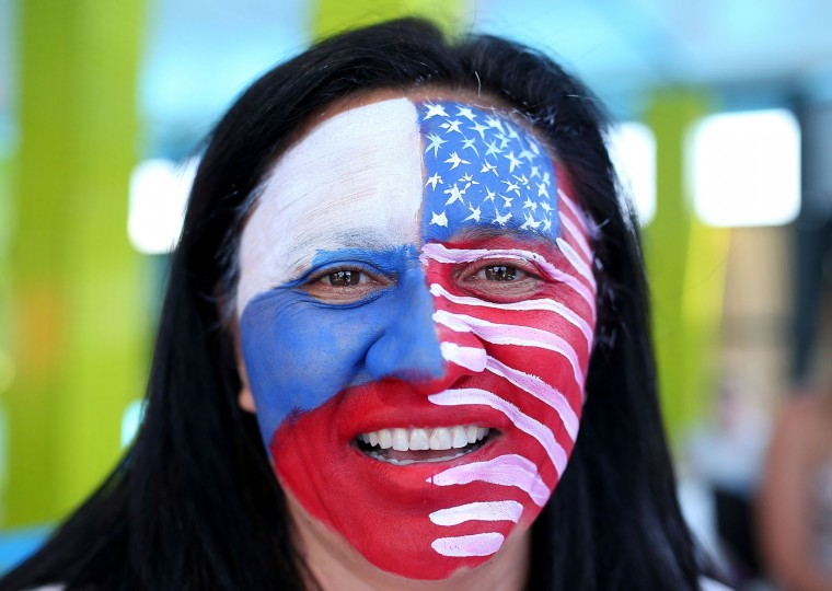A tennis fan shows her support on Australia Day during day nine of the 2016 Australian Open at Melbourne Park on January 26, 2016 in Melbourne, Australia. (Graham Denholm/Getty Images)