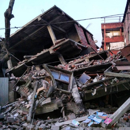 This picture taken from Instagram shows damage from a strong 6.7 magnitude earthquake which struck northeast India near the country's borders with Myanmar and Bangladesh in the city of Imphal, capital of Manipur state early on January 4, 2016. The early morning tremor was strongly felt across northeast India and in the Bangladeshi capital Dhaka, where television reports said at least 24 people were taken to the hospital after being injured in the scramble that ensued. (Deepak Shijagurumayum/AFP photo)
