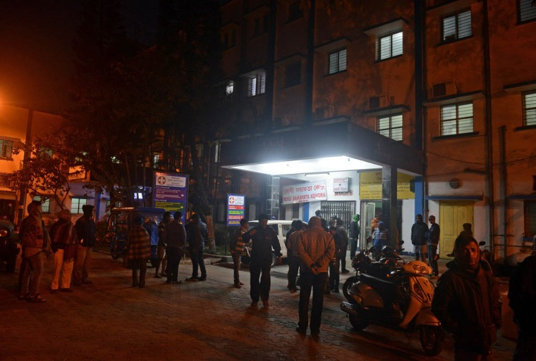Residents gather at the entrance to Siliguri Hospital as the injured are brought in following an earthquake in Siliguri on January 4, 2016. A strong 6.7 magnitude earthquake struck northeast India near the country's borders with Myanmar and Bangladesh early on January 4, sending people fleeing into the streets with dozens injured in the panic. (Diptendu Dutta/AFP/Getty Images)