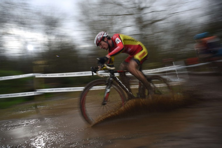 Michael Butler competes in the Elite Men's Championship of the 2016 British Cycling National Cyclo-Cross Championships at Shrewsbury Sports Village on January 10, 2016 in Shrewsbury, Central England. (OLI SCARFF/AFP/Getty Images)