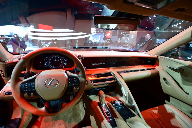 The interior of the Lexus LS500 is pictured during the press preview of the 2016 North American International Auto Show in Detroit, Michigan, on January 12, 2016. (JEWEL SAMAD/AFP/Getty Images)